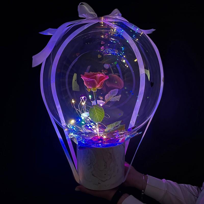 Комплемент (живая роза) с подсветкой!