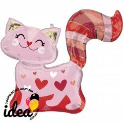 Шар с гелием  Кошка розовая с сердцем 78см