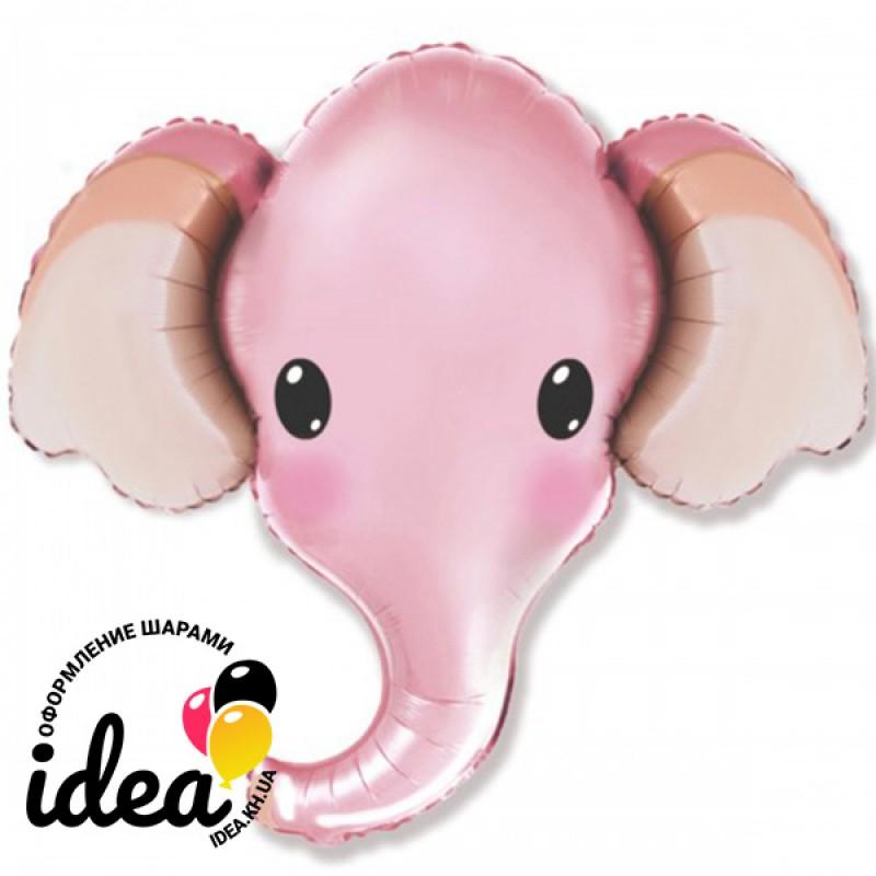 Шар с гелием Слон розовый Голова 96 см
