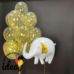 Букет гелиевых шариков золотко слоненок