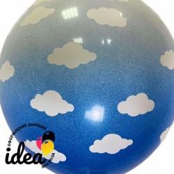 Шар с гелием Омбре облака бело-синие, обработан HiFloat