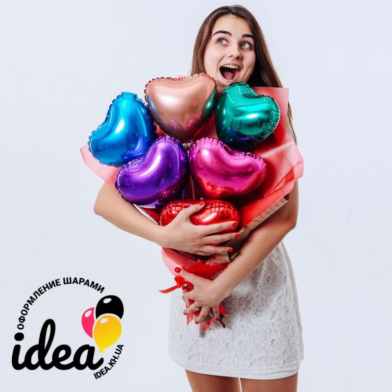 Крафтовый букет шаров разноцветные сердца