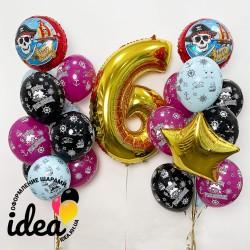 Набор гелиевых шаров пиратский ДР для девочки
