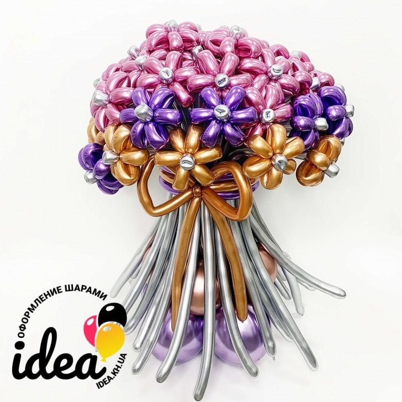 Букет цветов из шариков Великолепный хром ХХL