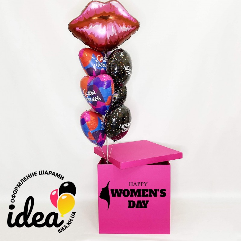 Бирюзовая коробка с шарами Женский День