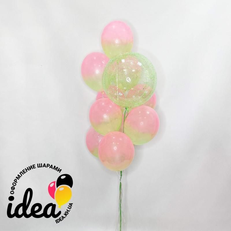 Букет гелиевых шариков Весеннее омбре