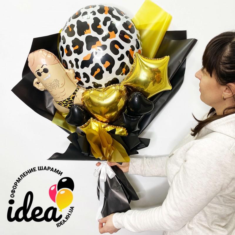 Крафт букет шаров леопардовый