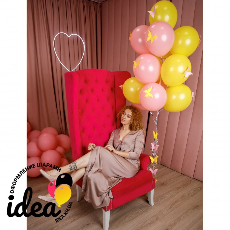 Букет гелиевых шаров в желто-розовых цветах