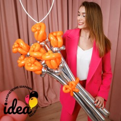 Букет цветов из шариков Огненные розы