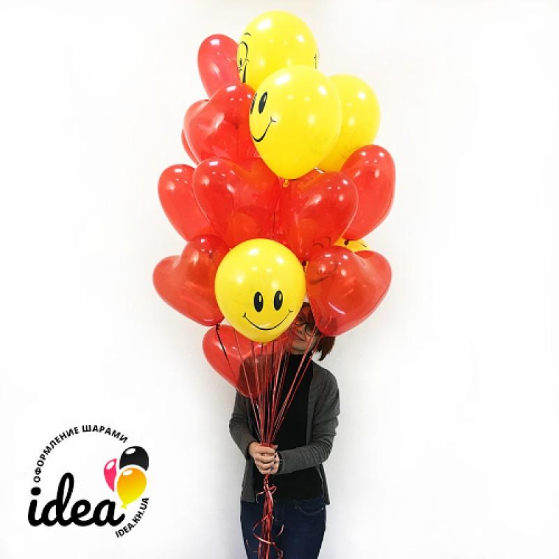 Воздушные шарики Смайлы и сердца