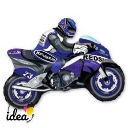 Шар с гелием Мотоциклист (синий) 80см