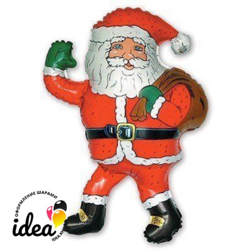 Шар с гелием Санта Клаус с подарками 85см