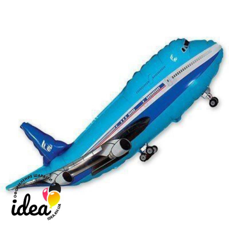 Шар с гелием Самолет синий 98см