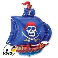 Шар с гелием Пиатский корабль (синий) 102см