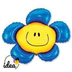 Шар с гелием Цветок синий 100см