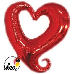 Шар с гелием Сердце красное вензель 85см