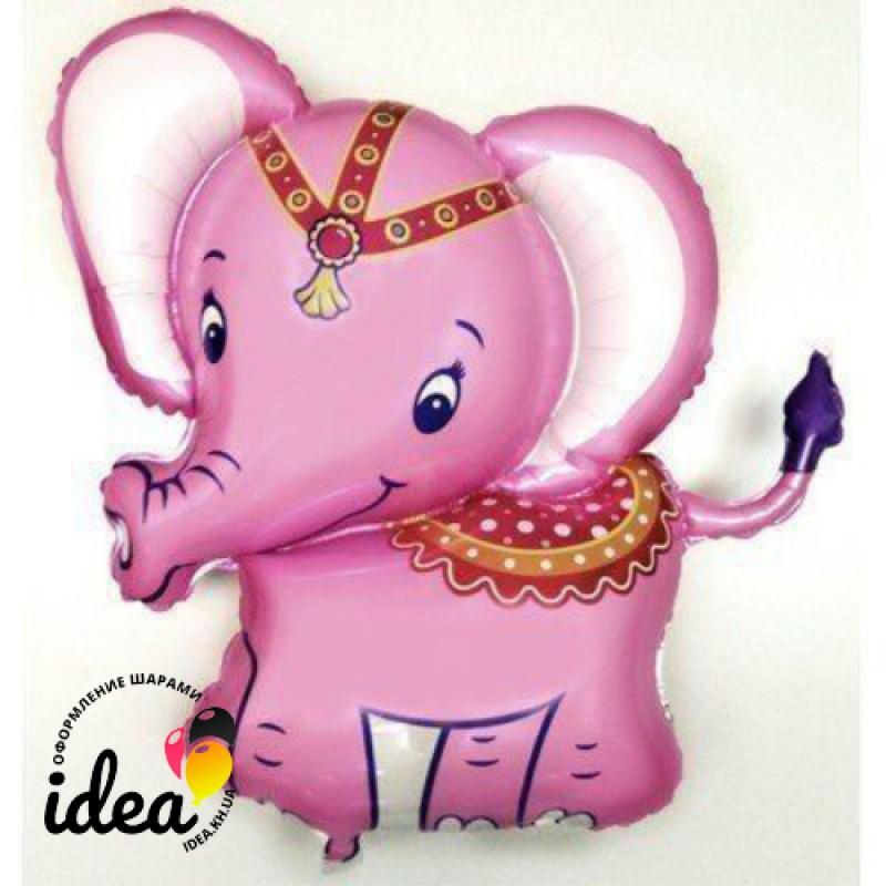 Шар с гелием Слоненок розовый 82см