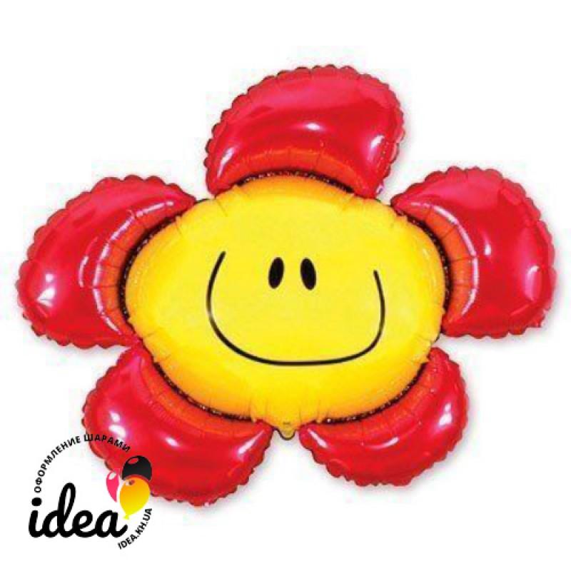 Шар с гелием Цветок красный 100см