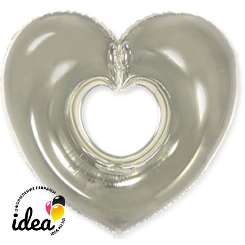 Шар с гелием Сердце бублик серебро 85см