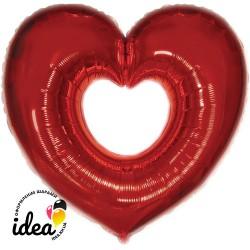 Шар с гелием Сердце бублик красное 85см