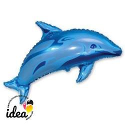 Шар с гелием Дельфин голубой 93см