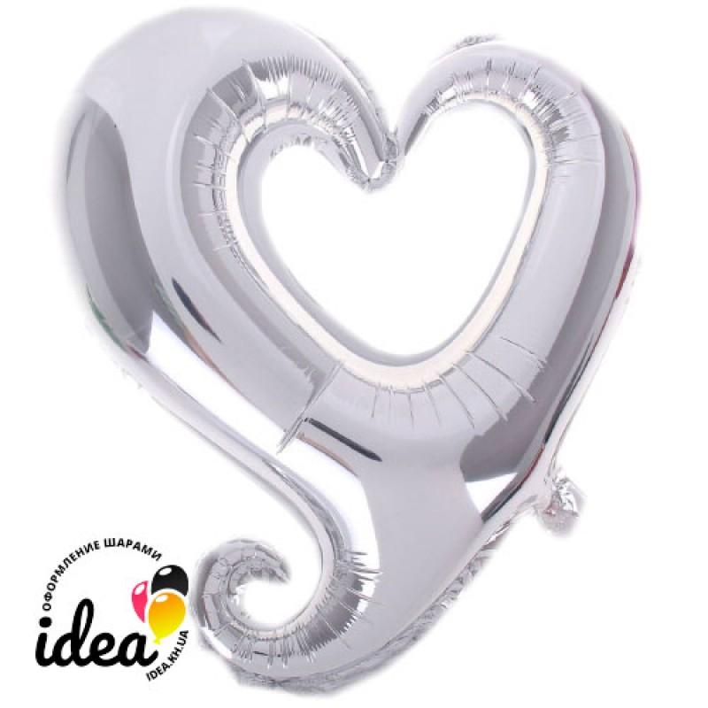 Шар с гелием Сердце серебряное вензель 85см