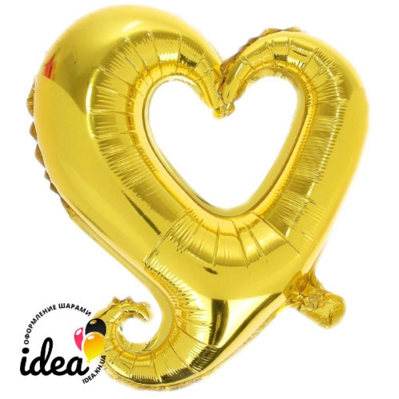 Шар с гелием Сердце золотое вензель 85см