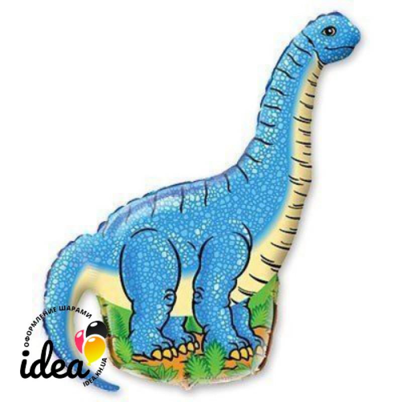 Шар с гелием Динозавр голубой 100см