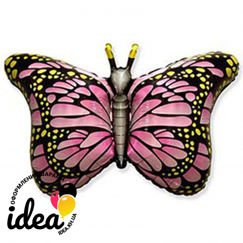 Шар с гелием бабочка розовые крылья 97см