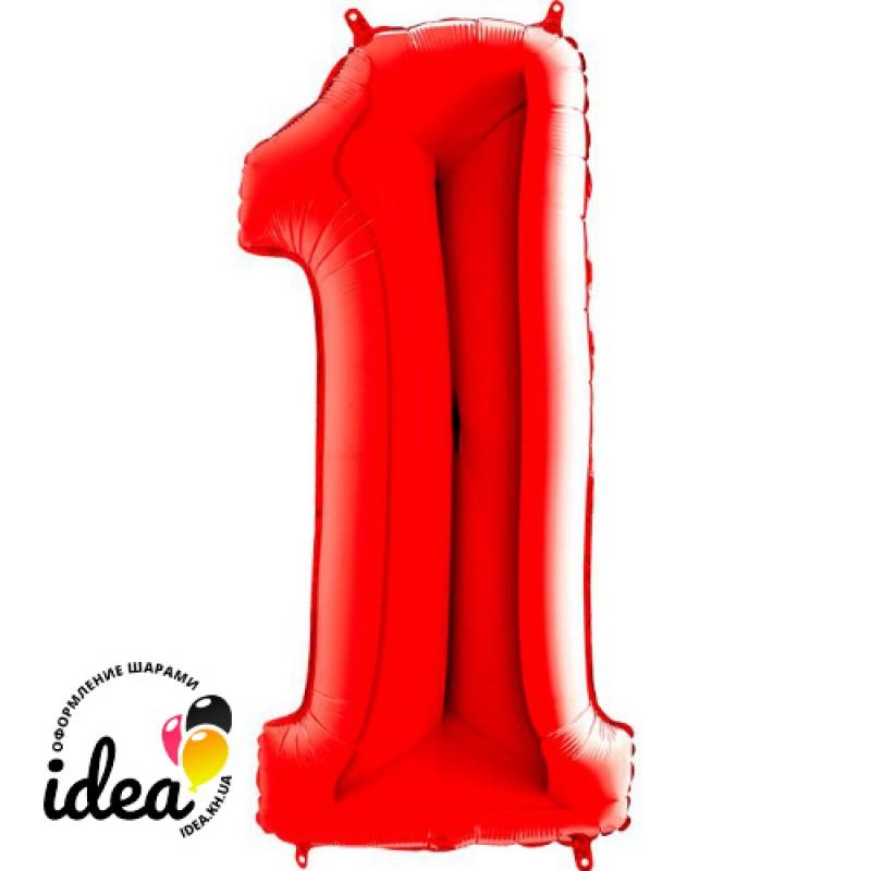 Шар «1» с гелием красный 100см