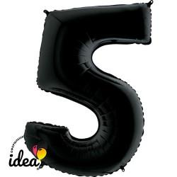 Шар «5» с гелием черный 100см