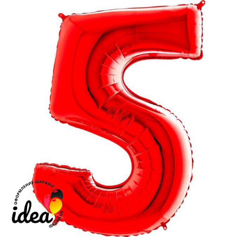 Шар «5» с гелием красный 100см