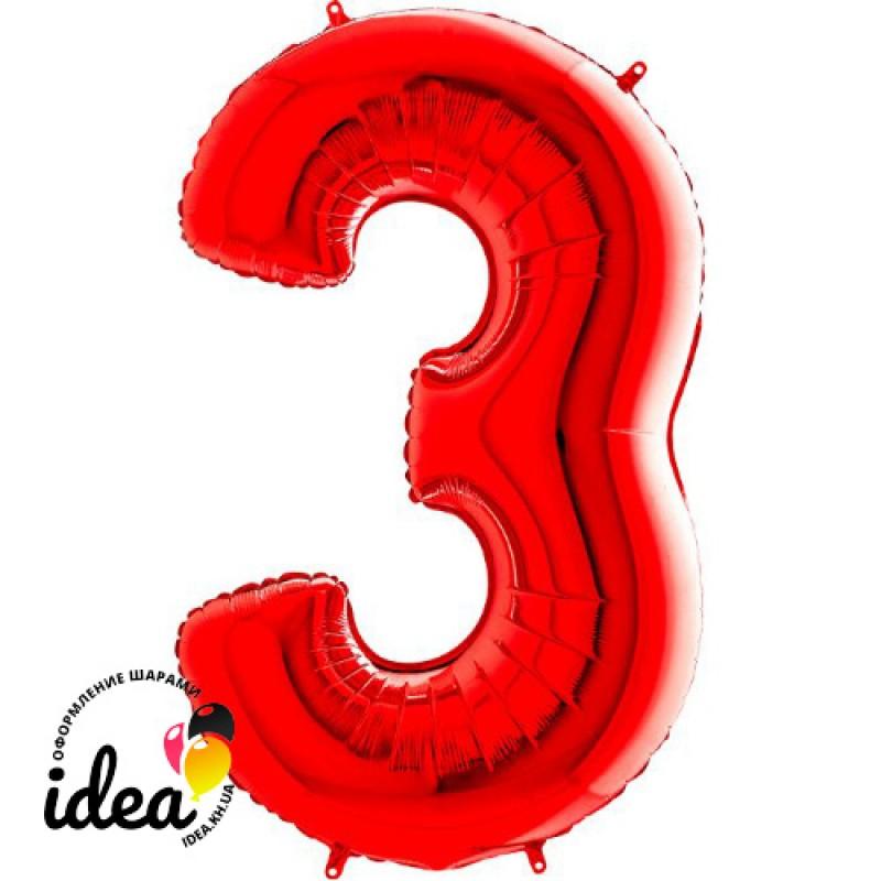Шар «3» с гелием красный 100см