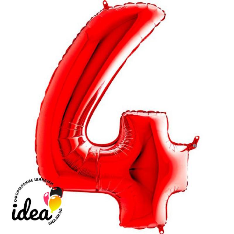 Шар «4» с гелием красный 100см