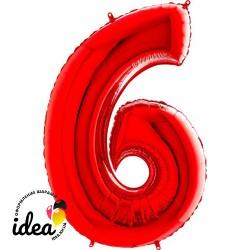 Шар «6» с гелием красный 100см