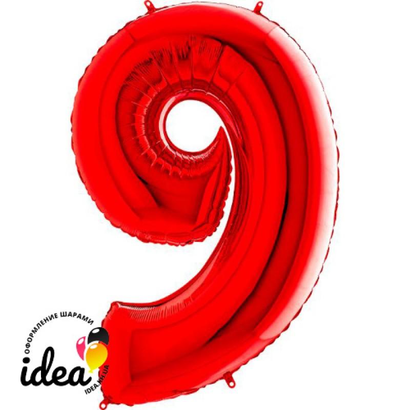 Шар «9» с гелием красный 100см