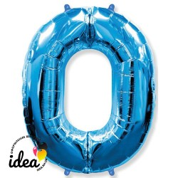Шар «0» с гелием синий 100см
