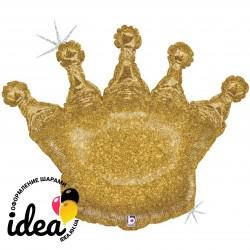 Шар с гелием корона золотая голография 91см