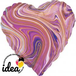 Шар с гелием сердце АГАТ фиолетовое 45см