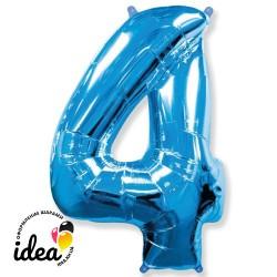Шар «4» с гелием синий 100см