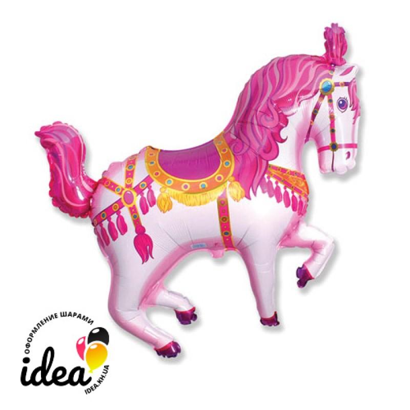 Шар с гелием Лошадь цирковая розовая 80см