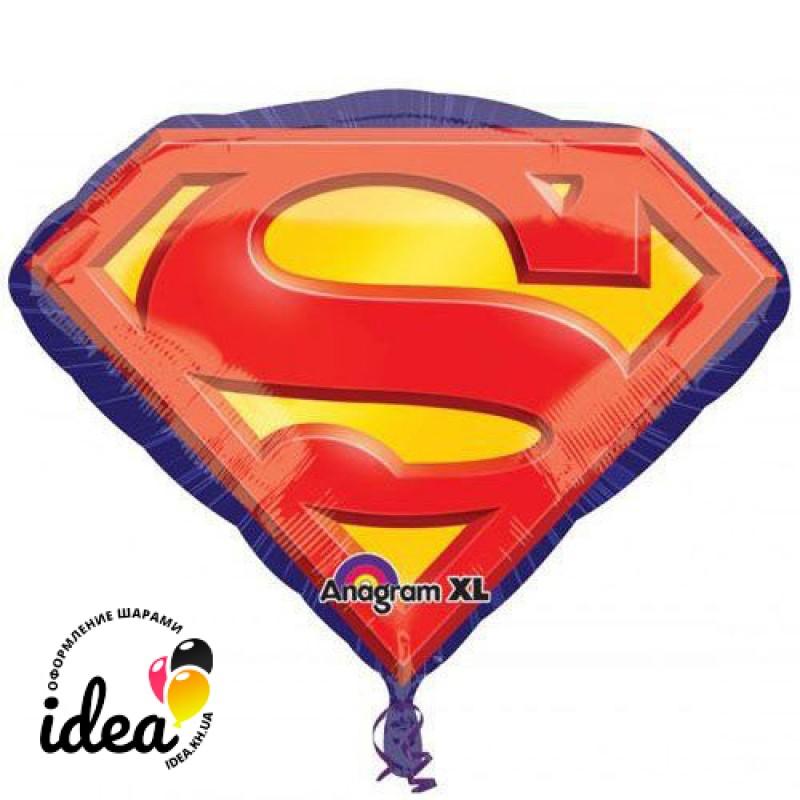 Шар с гелием супермен эмблема 66см