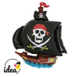 Шар с гелием Пиратский корабль (черный) 102см