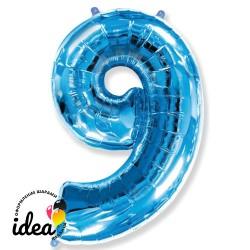 Шар «9» с гелием синий 100см