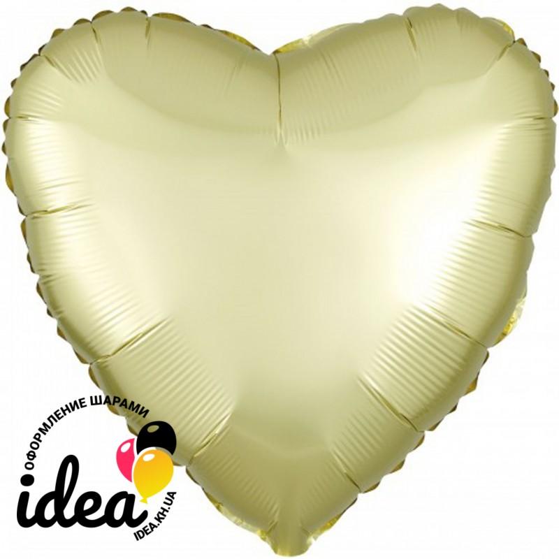 Шар с гелием сердце (сатин) светло желтое 45см