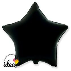 Шар с гелием звезда черная 45см