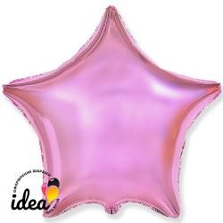 Шар с гелием звезда металлик розовая 45см