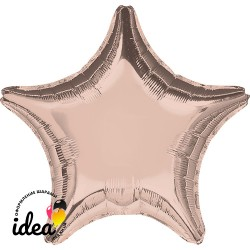 Шар с гелием звезда металлик розовое золото 45см