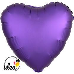Шар с гелием сердце (сатин) фиолетовое 45см