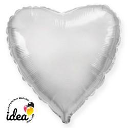 Шар с гелием сердце серебро 45см